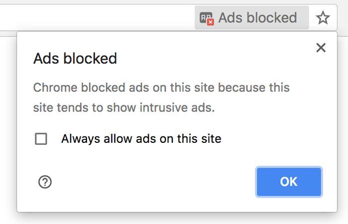 Quand Chrome va bloquer les publicités, il va le notifier sur la barre d'adresse - Crédit : ctrl.blog