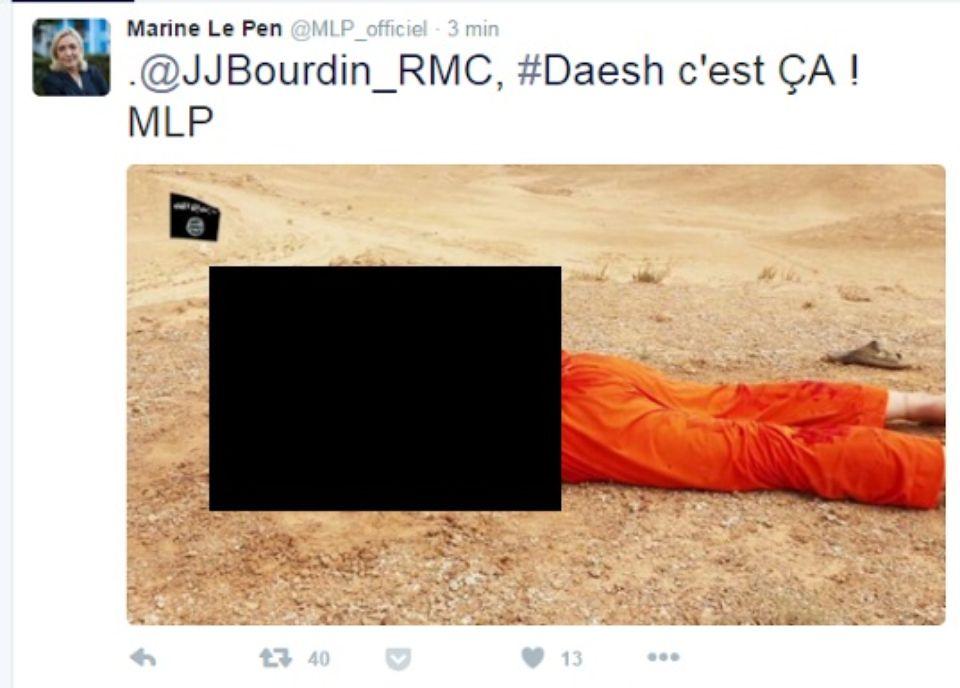 Le Tweet de Marine Le Pen datant de 2015 qui lui vaut une accusation de terrorisme par la justice