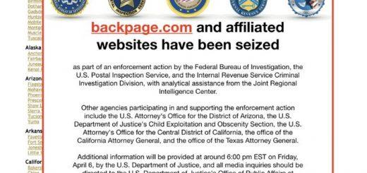 La notice de saisie du FBI sur le site Backpage
