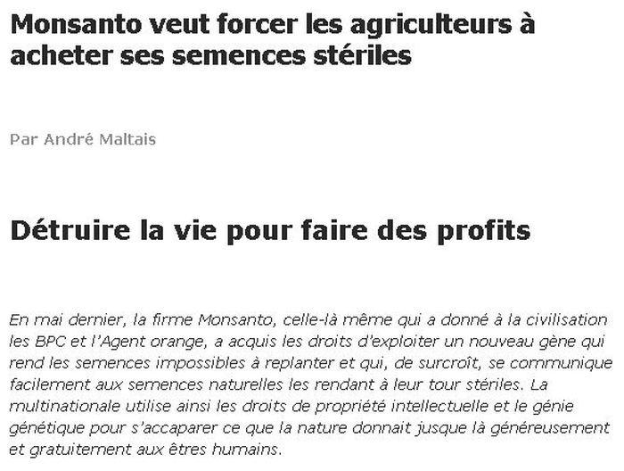 Le genre d'article qui attaque systématiquement des entreprises comme Monsanto et l'agriculture moderne - Source : http://lautjournal.info/articles-mensuels/175/monsanto-veut-forcer-les-agriculteurs-acheter-ses-semences-steriles